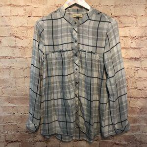 Anthropologie Cloth & stone Plaid Button down shir